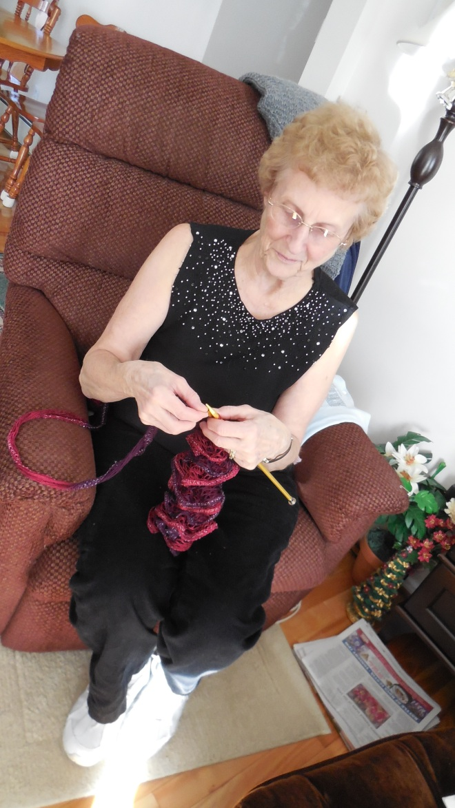 Mom enjoying her favorite hobby~ Knitting!