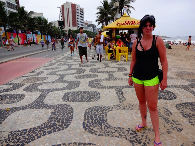 Laura on the sidewalk at Ipanema. Each beach has a different sidewalk, very cool!