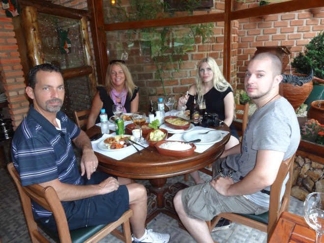 Enjoying a delicious dinner with our German friends Melanie & Mark Faust