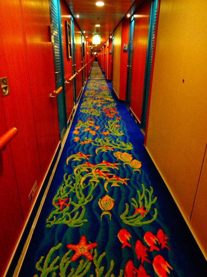 The colorful hallway to our room