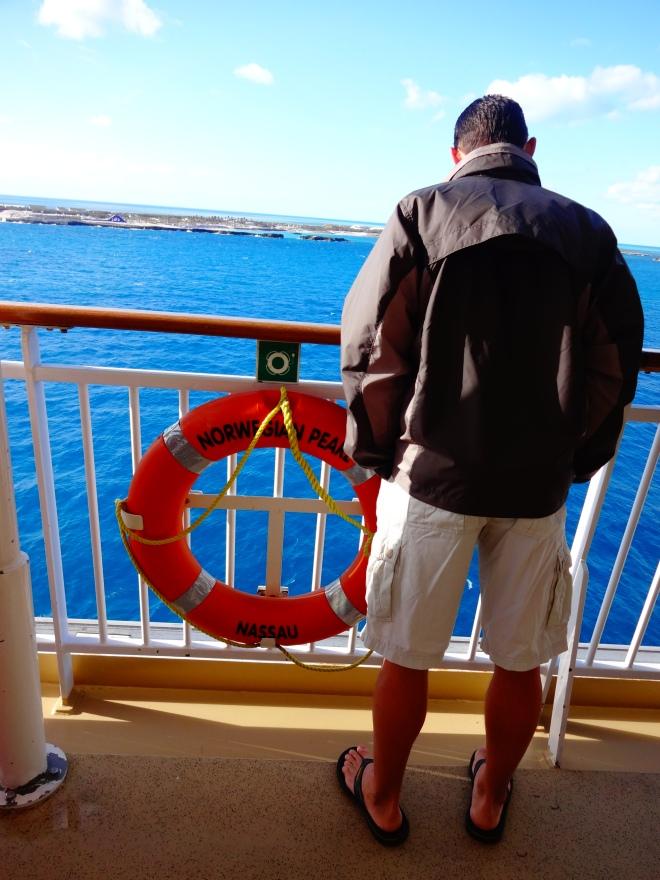 David looking at the island