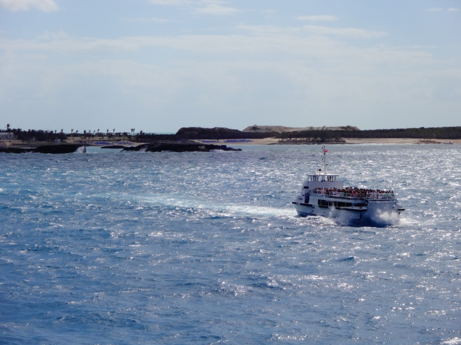 Going to the island by tender boat