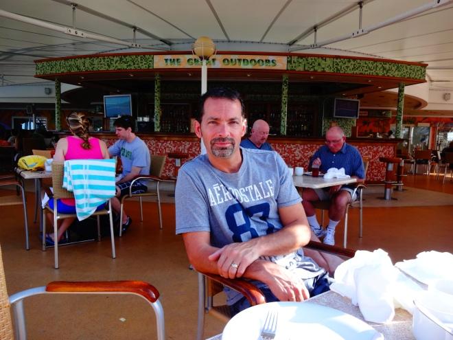 Enjoying a wonderful breakfast on Deck 12 before we explore Jamaica.