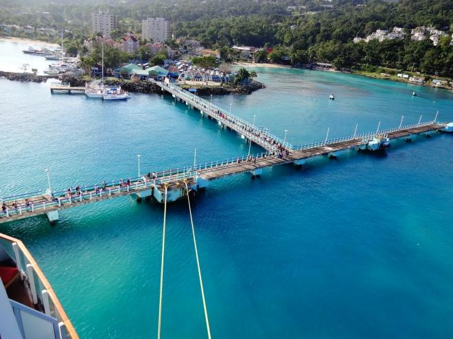 Ship docked at port of Ocho Rios in Jamaica