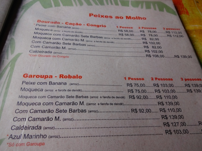 MENU~ in Reais of course :)