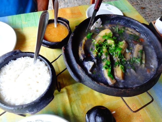 Azul Marinho ( fish stew, rice and pirao)