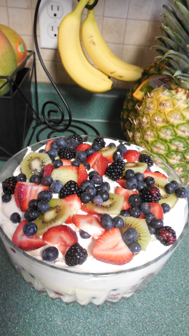 Yummy fruit triffle for dessert :)