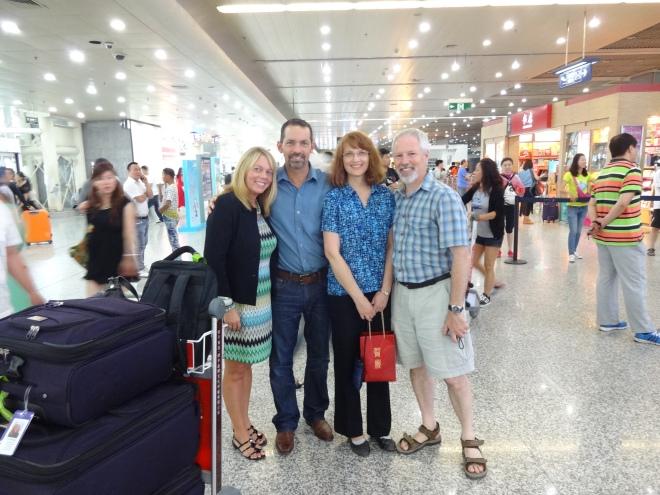 So wonderful to see David's sister & husband at the airport!
