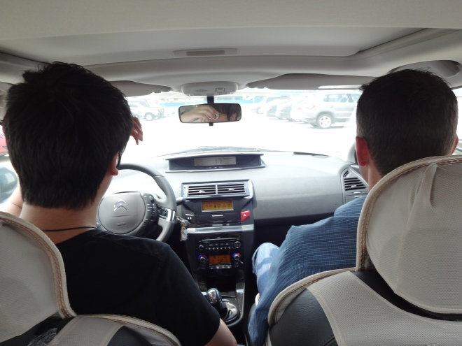 Driving with Wang :)