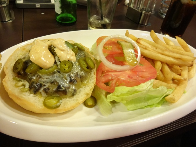 Casey's Spicy burger- one of the many specialty burgers they offer :)