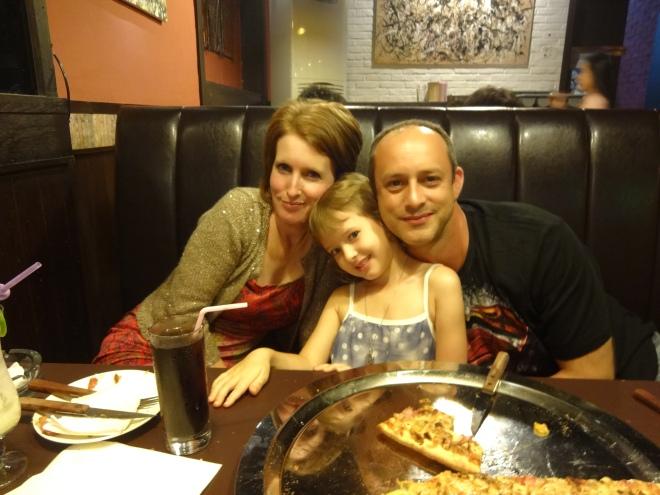 Tina, Liv & Glen enjoying their BBQ Chicken Pizza