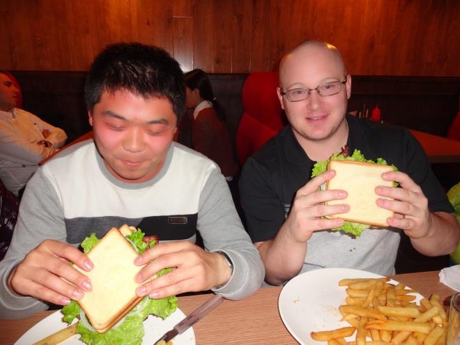 Liu Fu Jhi & Chris with their Anaconda burgers