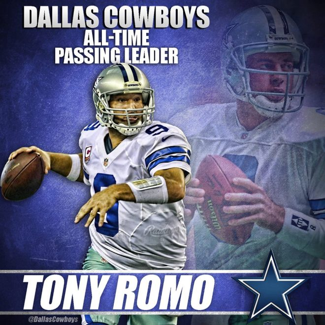 Tony Romo is now the Dallas Cowboys All-Time Passing Leader, passing Troy Aikman