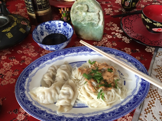 Jiaozi and noodles for lunch